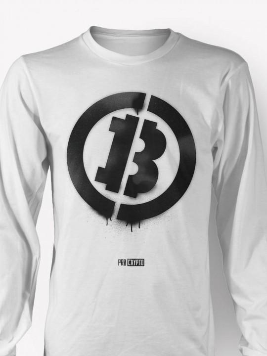Bitcoin Stencil -- Longsleeve t-shirt CLOSEUP