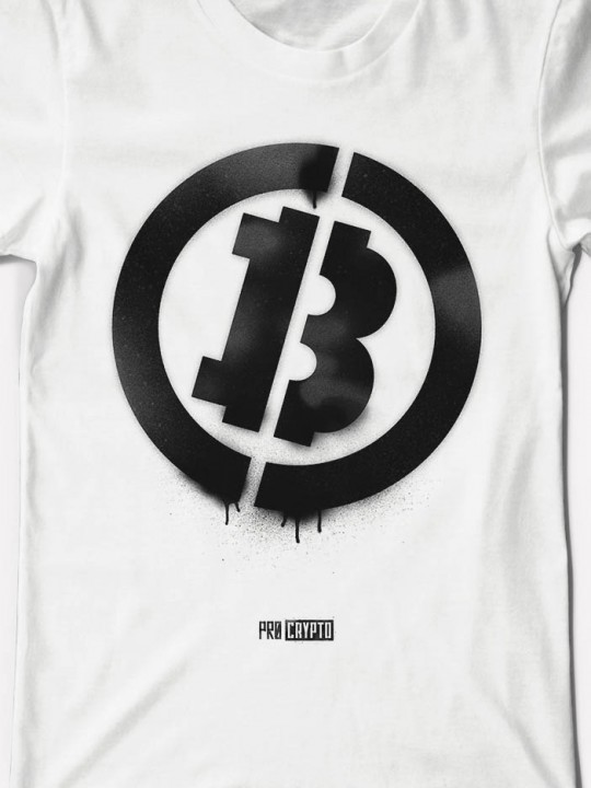 Bitcoin Stencil - White Tee Closeup