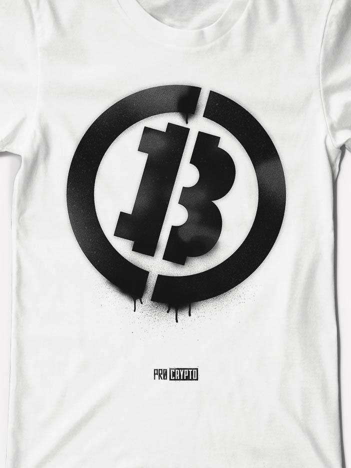 Bitcoin Stencil - White Tee Closeup