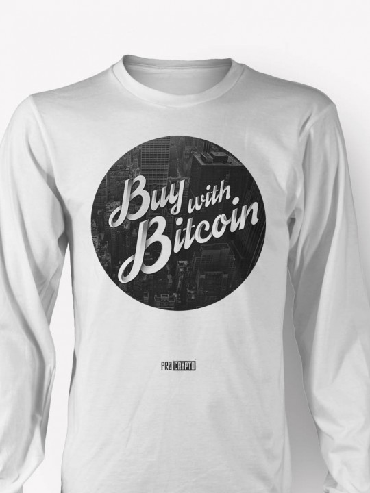 Buy with Bitcoin -- Longsleeve t-shirt CLOSEUP