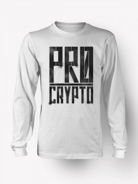 Pro Crypto Longsleeve White T-shirt