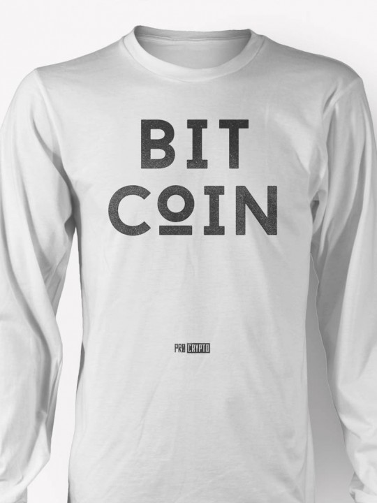BITCoIN -White Longsleeve T-shirt CLOSEUP