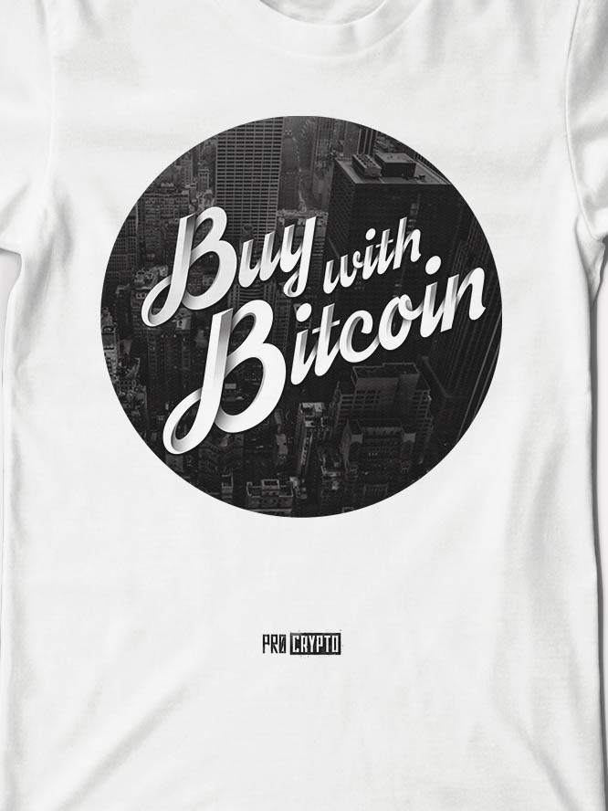 Buy With Bitcoin - White Tee Closeup