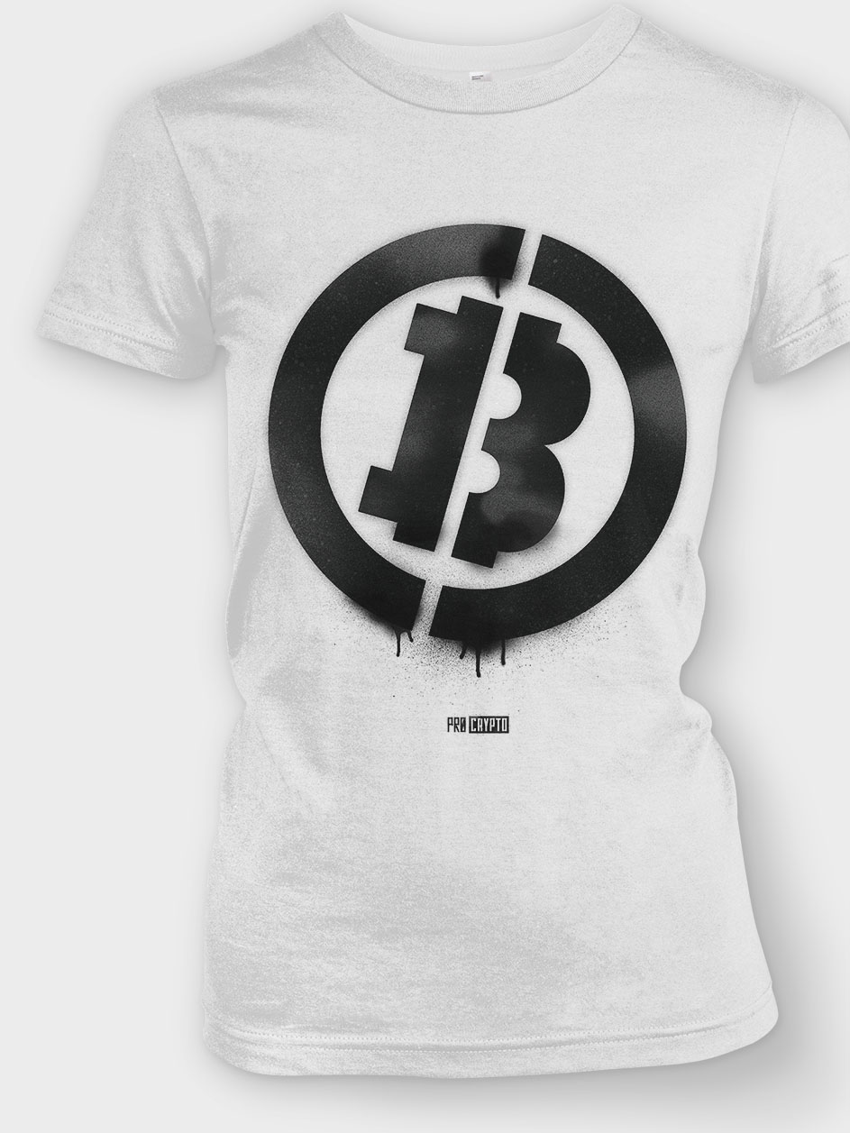 Bitcoin Stencil - Ladies tee Closeup