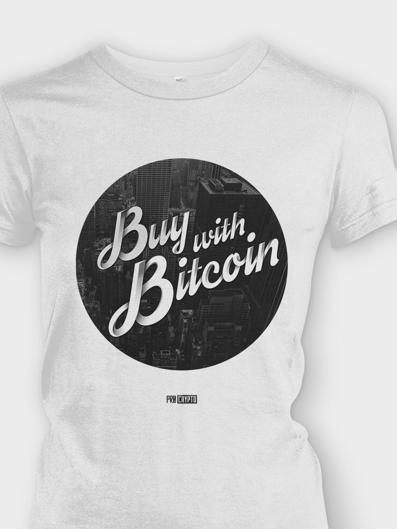 Buy with Bitcoin - Ladies tee Closeup
