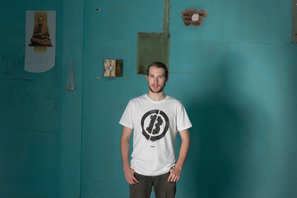 Bitcoin Stencil Tee | Start conversations anywhere | Bitcoin is without borders