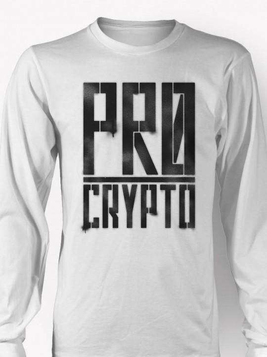 Pro Crypto - Longsleeve White T-shirt CLOSEUP